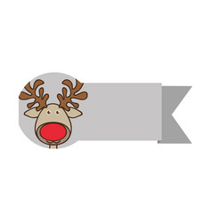 ribbon with face reindeer christmas animal vector image