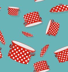 Seamless pattern pot background for kitchen vector image