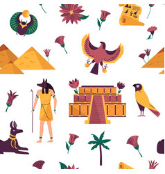 Seamless pattern with famous landmarks symbols vector