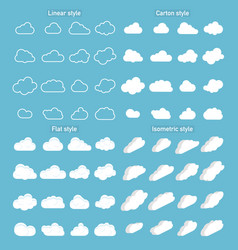 set cloud icons in trendy in 4 styles clouds vector image