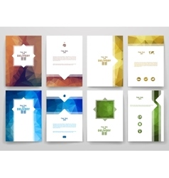 Set of brochures in poligonal style on delivery vector