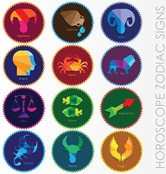 set of modern horoscope zodiac signs vector image