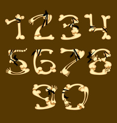 Set of numbers made in bone style vector