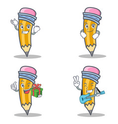 Set of pencil character with successful smirking vector