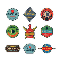 Set of vintage cooking classes logos retro styled vector
