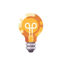 shiny light bulb flat icon vector image