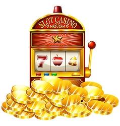 Slot machine with golden tokens vector