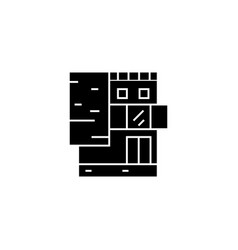 small office building black icon concept small vector image
