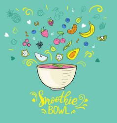 Smoothie bowl concept hand drawn fruits vector