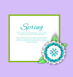 spring decoration on poster with frame and flower vector image