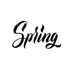 Spring hand lettering black letters white vector