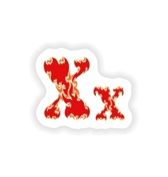 Sticker fiery font red letter x on white vector