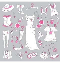 Stylish hand drawn set of women fashion items vector image