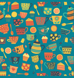 Tea cups seamless pattern background teal vector