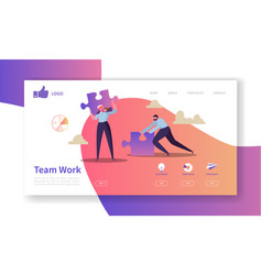 team work landing page template website vector image