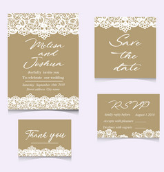 Templates of invitation lace cards for wedding vector