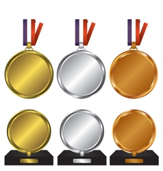 Three medals for the winners vector image
