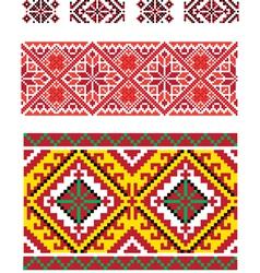 Three seamless folk borders vector image