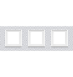 three square realistic white photo frame isolated vector image