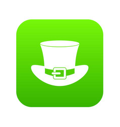 top hat with buckle icon digital green vector image