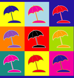 Umbrella and sun lounger sign pop-art vector