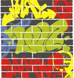 Urban graffiti on a brick wall vector