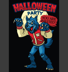 Werewolf of halloween vector