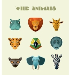 Wild animals icons format vector image