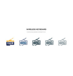 Wireless keyboard icon in different style two vector