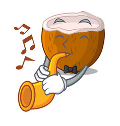 with trumpet cartoon beverage coconuts on the vector image