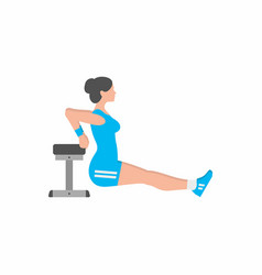 Woman doing triceps dip exercise on bench vector