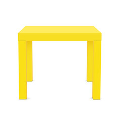 yellow square table mock up isolated vector image