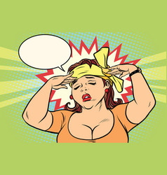 young retro woman with a headache vector image