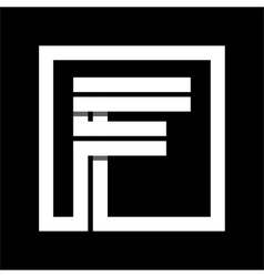 Capital letter F From white stripe enclosed in a vector image