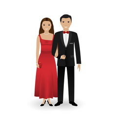 male and female couple in elegant clothes vector image