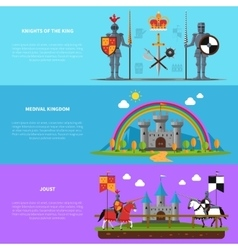 Medieval knights flat horizontal banners set vector