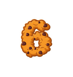 number 6 cookies font oatmeal biscuit alphabet vector image