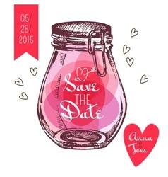 Save the date card Wedding invitation Rustic mason vector image vector image