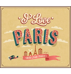 Vintage greeting card from Paris - France vector image