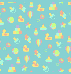 Baby toys seamless pattern on blue background vector