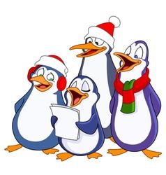 caroling penguins vector image vector image