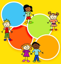 Cartoon kids and color circles-2 vector image vector image