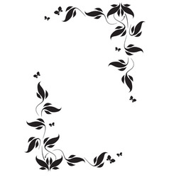Corner vignette butterflies and leaves vector image vector image