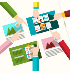 creative team human hands with graphic design on vector image vector image