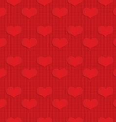 Red hearts on checkered background vector image vector image