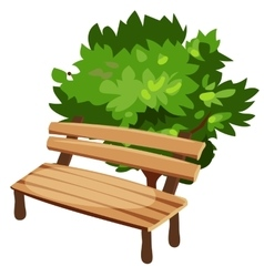 Wooden bench and tree cartoon style vector image vector image