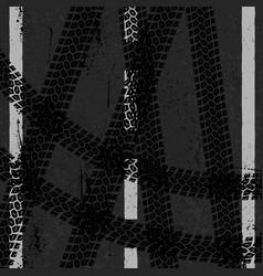 asphalt with three tire tracks vector image