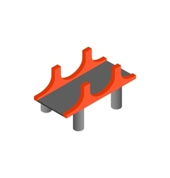 Bridge with red pillars icon in isometric 3d style vector image vector image