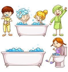 Children brushing teeth and taking bath vector image