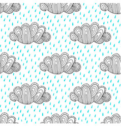 doodle hand drawn seamless pattern with cute vector image vector image